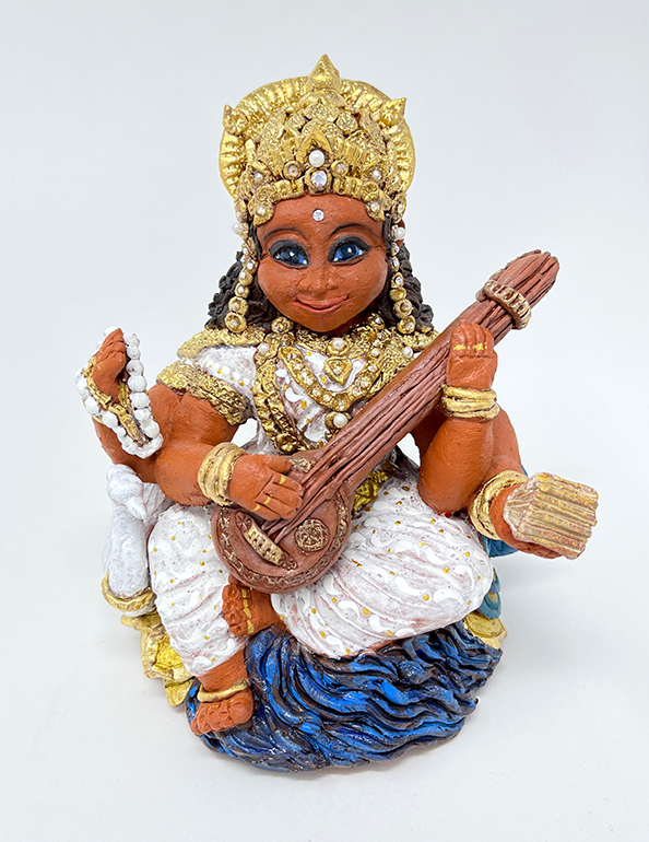 Brigitte Saugstad Saraswati -1 ceramic statue, sculpture, idol, figurine A