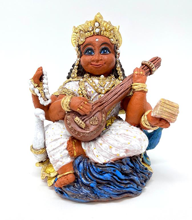 Brigitte Saugstad Saraswati -1 ceramic statue, sculpture, idol, figurine B