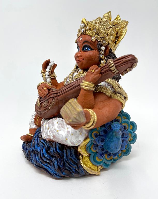 Brigitte Saugstad Saraswati -1 ceramic statue, sculpture, idol, figurine C