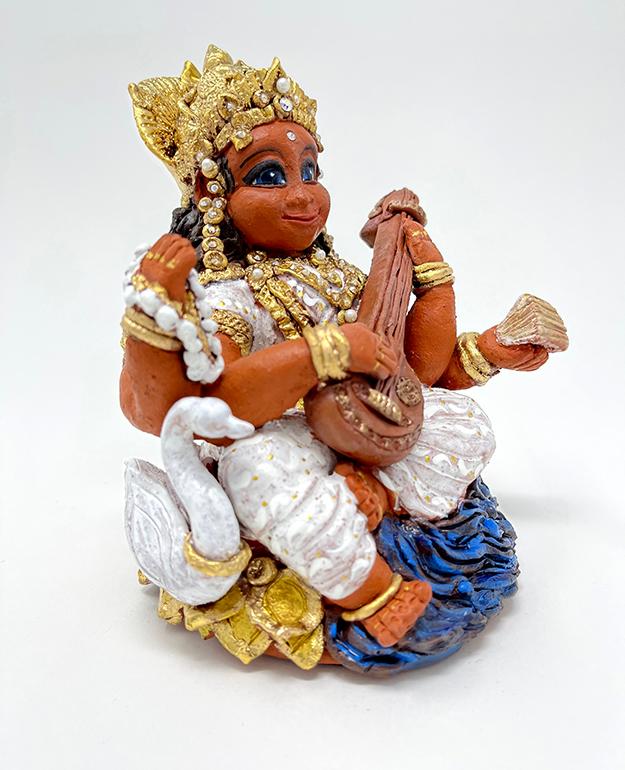 Brigitte Saugstad Saraswati -1 ceramic statue, sculpture, idol, figurine E