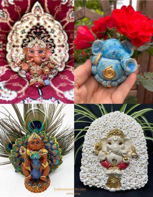 Brigitte Saugstad, Ganesha, ceramic statue, sculpture, idol, figurine, elephant