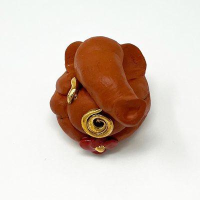 Brigitte Saugstad Ganesha Swayambu-02 natural brown 5x4x5 ceramic statue, sculpture, idol, figurine, elephant B