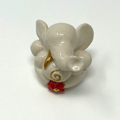 Brigitte Saugstad Ganesha Swayambu-04 glazed white 5X5X6 ceramic statue, sculpture, idol, figurine, elephant A